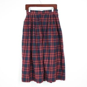 Vintage Land's End Flannel Plaid Skirt Sz 10P